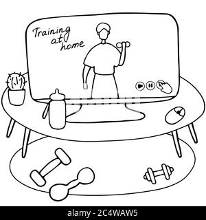 Site Web des entraîneurs sportifs. Espace de travail avec haltères et ordinateur avec application de formation ouverte. Sportif faisant de l'exercice avec haltères dans la salle de gym. Dessin animé plat