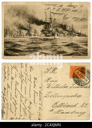 Carte postale historique allemande : manœuvres de la Marine impériale allemande, une armada de navires de guerre dans la campagne. Inscription manuscrite. Empire allemand, 1922