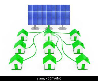 Concept d'énergie verte. De nombreuses maisons reliées au panneau solaire sur fond blanc. Rendu 3d. Banque D'Images