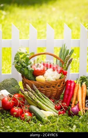 Mélange de légumes frais dans un panier en osier Banque D'Images