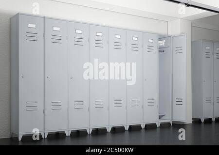 Casiers gris en métal dans les casiers salle très proche. Rendu 3d. Banque D'Images