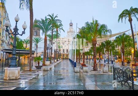 Le temps pluvieux dans la vieille ville avec une vue sur la Plaza de San Juan de Dios avec l'hôtel de ville derrière les palmiers, Cadix, Espagne