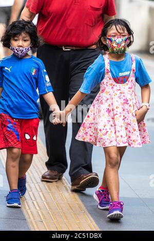 Jeunes filles portant un masque facial pendant la pandémie de Covid 19, Bangkok, Thaïlande
