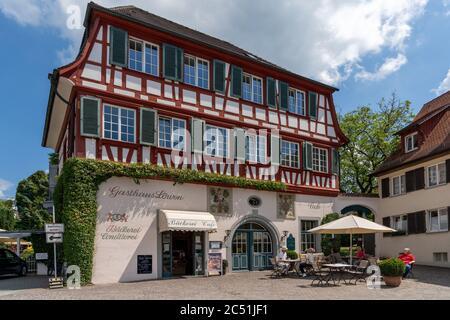 Hagnau, BW / Allemagne - 23 juin 2020 : vue sur l'historique 'Hotel Loewen' ou l'hôtel Lions de Hagnau sur le lac de Constance dans le sud de l'Allemagne