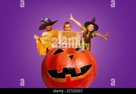 Groupe de trois enfants en costumes avec un panneau de bande de roulement ou de trick sur un énorme Halloween effrayant citrouille fond violet Banque D'Images