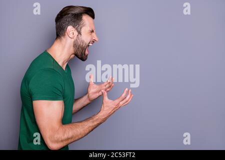 Profil photo de l'attrayant fou gars soigneux cheveux soil lever les bras yelling furieux côté vide espace combat avec petite amie porter décontracté vert t