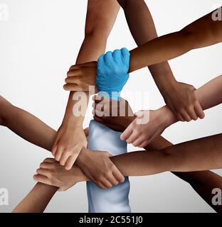 Partenariat d'aide médicale et soutien communautaire essentiel des travailleurs dans une société diversifiée comme médecin ou infirmière tenant les patients dans une illustration 3D. Banque D'Images