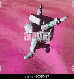 l'astronaute d'une autre planète débarque sur le lac de glace, illustration 3d Banque D'Images