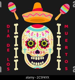 Icône vecteur crâne de sucre (Calavera). Jour des morts (Dia de los moertos) Fiesta et affiche de vacances. Décoration mexicaine colorée fête circulaire de bienvenue Banque D'Images