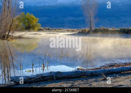 Le brouillard du matin s'élève d'un lac de montagne. Banque D'Images