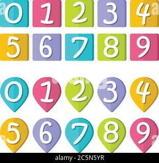 Chiffres amusants, collection de chiffres de 0 à 9, arrière-plans colorés. Modèle pour jeux ou livres pour enfants, illustration vectorielle