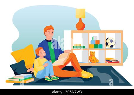 Un père et un fils heureux lisant ensemble un livre de contes de fées. Papa et petit garçon assis sur la moquette dans la salle de jeux et apprenant. Illustration des caractères vectoriels. F