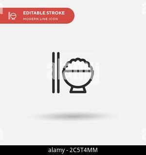 Icône vecteur simple pour bol à riz. Modèle de conception de symbole d'illustration pour l'élément d'interface utilisateur Web mobile. Pictogramme moderne de couleur parfaite sur contour modifiable. Icônes Rice Bowl pour votre projet d'entreprise
