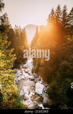 Parc national de Tatra, Pologne. Lever de soleil au-dessus de la chute d'eau Wodogrzmoty Mickiewicza dans le paysage des montagnes d'été. Soleil du matin soleil soleil à travers Banque D'Images