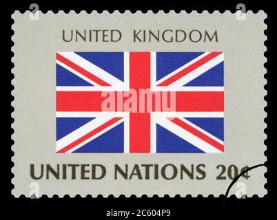 ROYAUME-UNI - timbre de poste du drapeau national britannique, série des Nations Unies, vers 1984.
