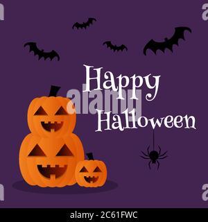 Pile de citrouilles. Bannière texte Happy Halloween sur fond violet Banque D'Images