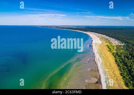 Mer Baltique, Allemagne, Mecklembourg-Poméranie occidentale, Darß, Prerow, vue sur le bord de mer d'eyriel
