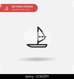 Icône de vecteur simple de windsurf. Modèle de conception de symbole d'illustration pour l'élément d'interface utilisateur Web mobile. Pictogramme moderne de couleur parfaite sur contour modifiable. Winsur Banque D'Images