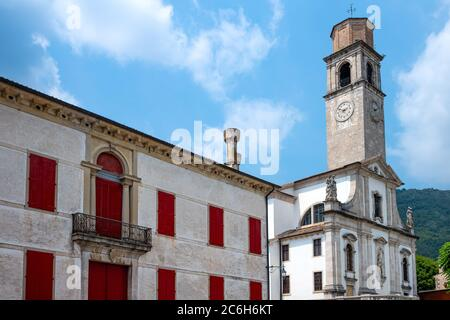 Cison di Valmarino, Italie, église S.Maria Assunta et clocher