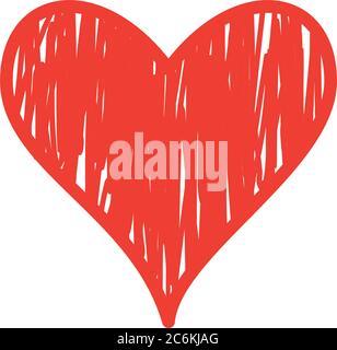 Coeur grunge plat style icône de l'amour passion et thème romantique illustration vectorielle Banque D'Images
