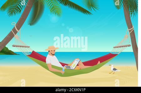Homme d'affaires assis dans un hamac sur la plage et travaillant avec son ordinateur portable. Le meilleur endroit pour travailler