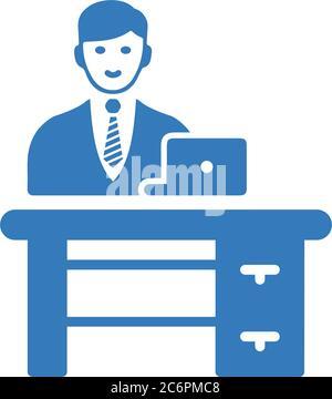 Bureau, icône de lieu de travail / graphiques vectoriels. Utilisation pour les projets commerciaux, les supports d'impression, le Web ou tout type de projet de conception.