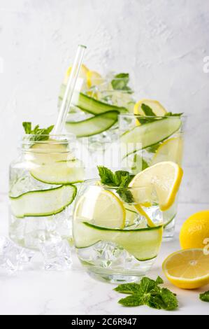 Boisson alcoolisée (cocktail tonique de gin) avec citron, concombre, feuilles de menthe et glace sur blanc. Boisson glacée au citron.