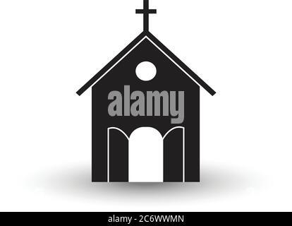 image noire et blanche de l'église vecteur plat avec l'ombre illustration