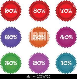 lot de cercles colorés étiquettes de réduction dix à quatre-vingt dix pour cent de rabais pour les grandes ventes Banque D'Images