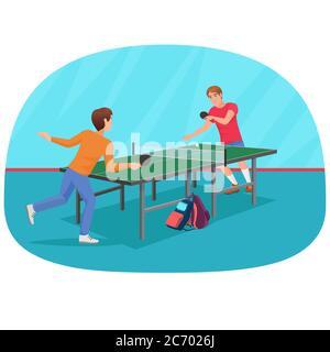 Illustration vectorielle de deux amis jouant au tennis de table Banque D'Images