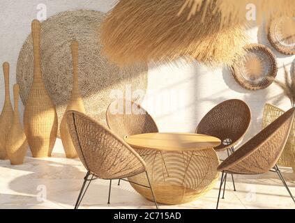 Intérieur d'un café ou d'un restaurant avec mobilier en osier et décor en rotin et paille. Table ronde. Style ethnique. Rendu 3D Banque D'Images