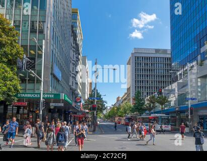 Boutiques sur Queen Street dans le centre-ville d'Auckland, Nouvelle-Zélande
