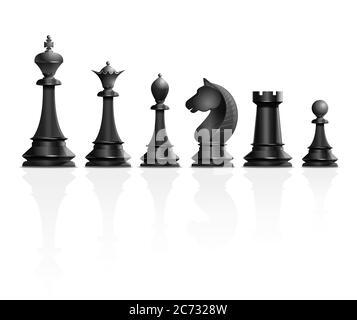 Jeu de pièces d'échecs noires. Illustration vectorielle Banque D'Images
