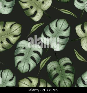 Le palmier tropical coloré réaliste laisse un motif vectoriel sans couture. Jungle botanique d'été fond. Papier peint exotique vert nature. Banque D'Images