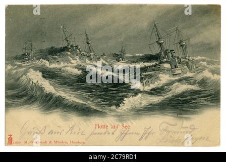 Carte postale historique allemande : navires de guerre de la Marine impériale allemande (kaisermarine) dans une mer agitée, signée au crayon violet, Allemagne, 1902
