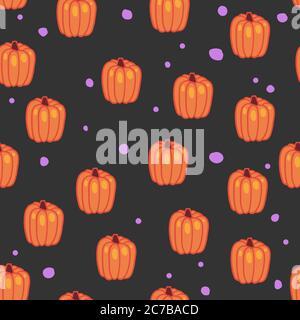 Motif Halloween sans couture sur fond sombre. Texture vectorielle sans couture. Banque D'Images