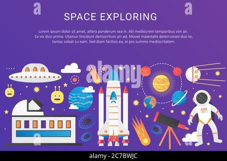 Illustration graphique tendance de l'univers des couleurs à dégradé plat Vector. Vaisseau spatial extra-atmosphérique fusée, système solaire avec planètes, satellites, bannière de modèle de concept d'OVNI avec icônes et texte Banque D'Images