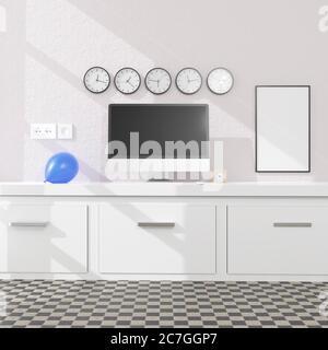 Espace de travail à la maison avec un ordinateur de bureau 3d rendu mockup.concept de technologie moderne . illustration 3d