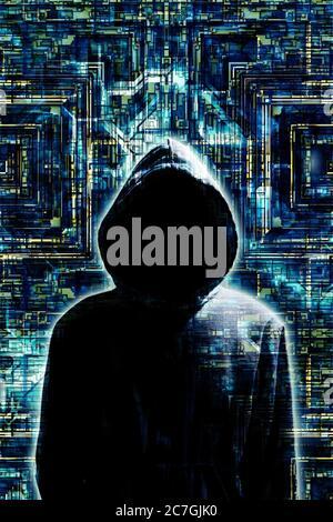 Mystérieux homme dans le capot comme concept pour hacker et les questions de sécurité dans l'Internet