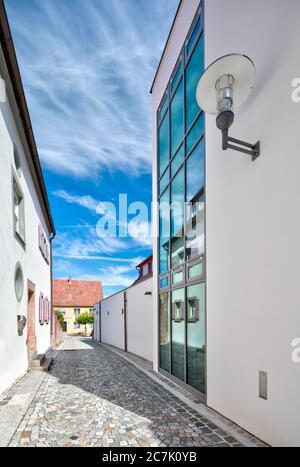 Ancienne huissier, façade moderne, Alley, architecture, Wolfram-Eschenbach, Franconie, Bavière, Allemagne