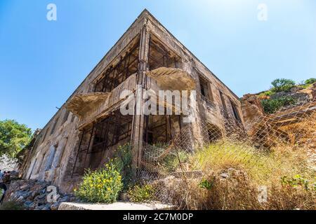 Sur le terrain de Spinalonga, île de lépreux, Plaka, nord-est de la Crète, Grèce
