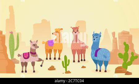 Joli personnage lamas dessin main dessin animé vecteur illustration paysage. Différentes couleurs et humeurs animaux mignons avec une couverture lumineuse dans le désert chaud près de cactus et de rochers. Bannière, papier peint, impression Banque D'Images
