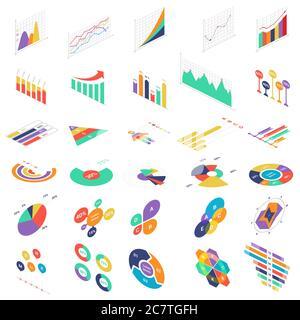 Flat 3d Isométrique éléments graphiques icônes graphiques graphiques ensemble pour la présentation de l'entreprise financière. Diagrammes de statistiques de données illustration vectorielle d'infographies