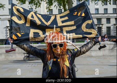 LONDRES - 18 OCTOBRE 2019 : le manifestant de la rébellion des extinction tient une bannière Save Bees lors d'une marche de protestation de la rébellion des extinction