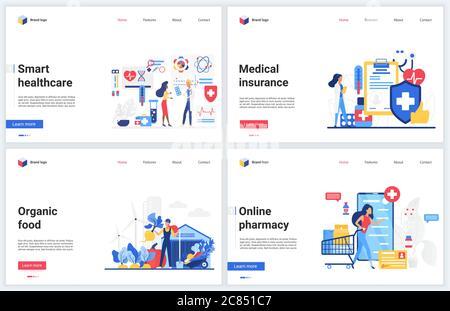 Illustrations vectorielles de la technologie en ligne de la santé médicale. Dessin animé plat de l'interface de site Web de médecine, application mobile moderne bandeau set avec assurance intelligente, mode de vie sain et application de pharmacie