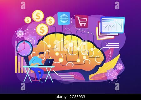 Illustration du vecteur de concept de l'intelligence artificielle dans le financement Banque D'Images