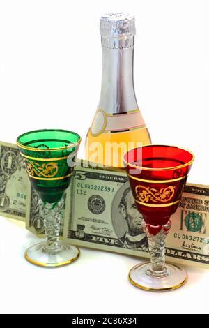 L'argent est dépensé pour le vin Banque D'Images