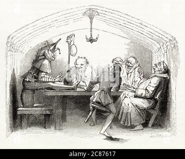 Illustration de Kenny Meadows à Hamlet, Prince du Danemark, par William Shakespeare. Le court jester, Yorick, les gens se divertiront pendant un repas. Date: 1840