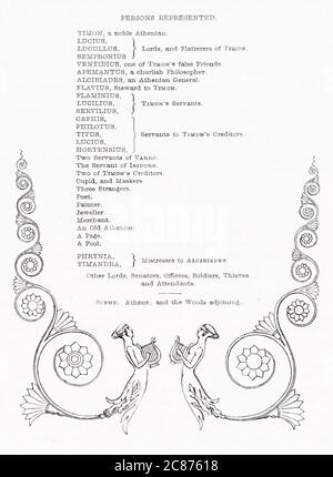 Illustration de Kenny Meadows à Timon d'Athènes, par William Shakespeare. Liste de distribution, avec design décoratif. Date: 1840