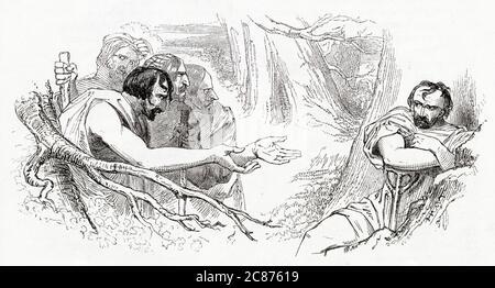 Illustration de Kenny Meadows à Timon d'Athènes, par William Shakespeare. Dans les bois à l'extérieur d'Athènes, les voleurs viennent à Timon pour demander de l'or, mais il n'a aucun. Au lieu de cela, il leur dit qu'ils peuvent vivre en mangeant et en buvant ce que la nature a à offrir. Date: 1840
